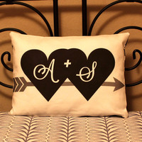 "12""x16"" Initials Pillow - Custom Pillow Original Design & Fabric -Personalized Gift for Couples, Wedding, Anniversary, Engagement, Christmas"