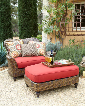 Outdoor Cuddle Chair &amp; Ottoman - Neiman Marcus