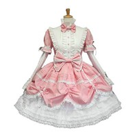 Pink French Maid Fancy Outfit+ Headband+sleeves Cosplay Costume
