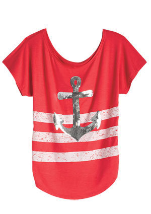 Sequin Stripe Anchor Tee