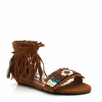 tribal fringe sandal $19.70 in BLACK CHESTNUT - Sandals | GoJane.com