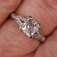 Platinum Diamond Art Deco engagement ring by HillarysAntiques
