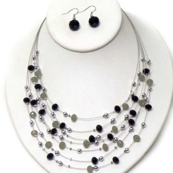 Black Facet Stone Multi Layered Necklace/Earring Set