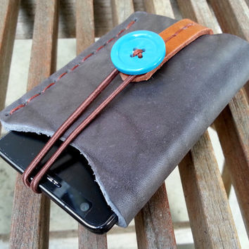 iphone 4 iphone 5 case sleeve bag pouch pocket  leather handmade personalize