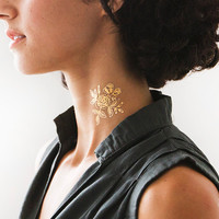 Tattly™ Designy Temporary Tattoos. Made in the USA! — Gold Floral