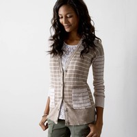 AEO Real Soft® Mixed Stripe Cardigan, Heather Brown | American Eagle Outfitters