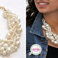 Classic Pearl Twist Statement Necklace ~ Bonus Earrings!