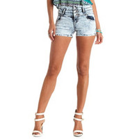 ACID WASH HIGH-WAISTED DENIM SHORTS
