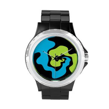 Blue green lime abstract art Wrist hand watch