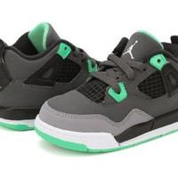Nike Air Jordan 4 Retro Infants Toddlers Kids Shoes Grey/Black/Green 308500-033