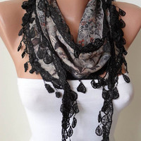 Grey and Multi Color Scarf with Black Trim Edge by SwedishShop