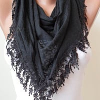 Black Scarf with Black Trim Edge Black Leopard by SwedishShop