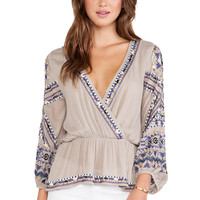 Free People Stitch Up Your Heart Top in Beige