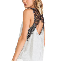 Jack By BB Dakota Mindy Lace Tank in Gray