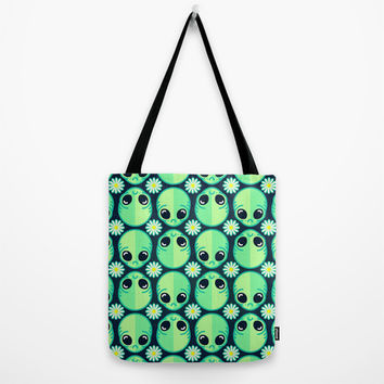 Sad Alien and Daisy Nineties Grunge Pattern Tote Bag by chobopop | Society6