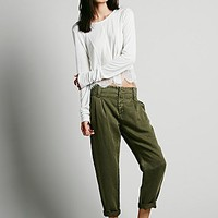 Free People Womens Relaxed Washed Trouser - Olive,