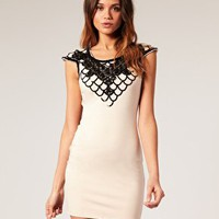 Lipsy | Lipsy Embellished Collar Jersey Mini Dress at ASOS