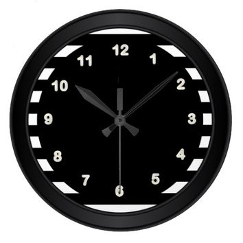 Classy Black/ White Numbers and Stripes Wall Clock