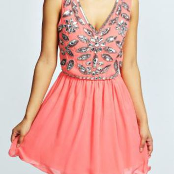 Floral Embellished Skater Prom Dress