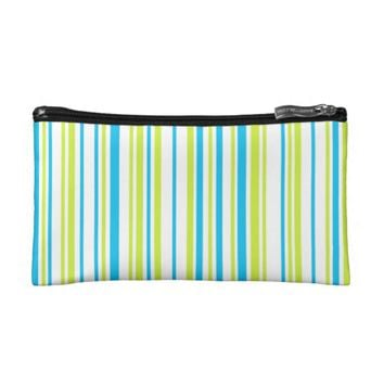 Lines lime blue white cosmetic bag