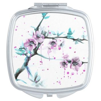 Spring flowers blossoms pink Compact mirror