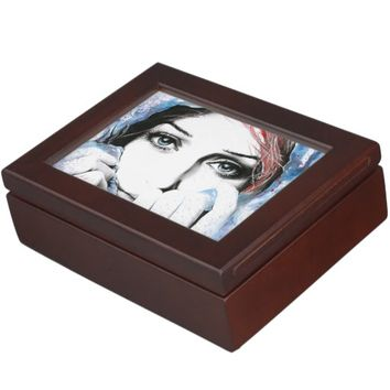 Girl portrait watercolor painting art Keepsake box