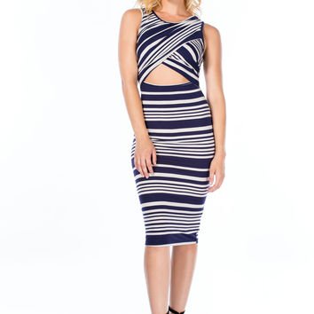 Stripe Tease Surplice Bodycon Dress