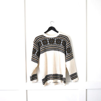 1960s nordic folk sweater/ 60s wool jumper medium