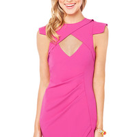 Rise of Dawn Bust Cut Out Dress in Neon Pink