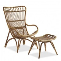 Settle-In Rattan Lounger and Ottoman - VivaTerra