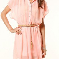 Coral Day Dress - Blush Dolman Dress | UsTrendy