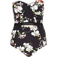 River Island Womens Black floral mesh insert swimsuit
