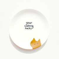 Your Cooking Sucks Plate, Decorative Plate, Grumpy Cat Rude Plate, Passive Aggressive Ceramics, Novelty Gag Gift, Mean Home Decor