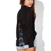 Papaya Clothing Online :: BACK-LACY CHIFFON BLOUSE