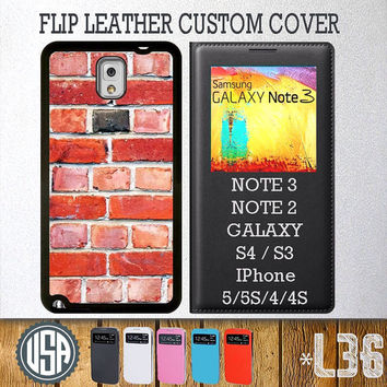 Brick Wall Pattern Flip Leather Cover @ Samsung Galaxy S4 case Samsung S3 cover , Samsung Note 3 Note 2 , IPhone 5 5S , IPhone 4 4S L36