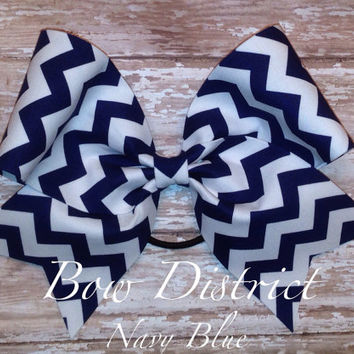 "3"" Navy Blue and White Chevron Cheer Bow"