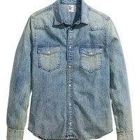 H&M - Denim Shirt - Denim blue - Men