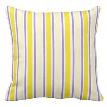 Yellow and Lavender Stripes Accent Pillow