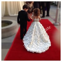 Flower Girl Dress - Rosette Dress - Lace Dress - Big Bow Dress - Wedding Dress - HOLLYWOOD CAPRI Gown by Isabella Couture