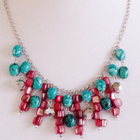 Unique Jewelry, Burgundy Turquoise Necklace, Handmade Jewelry, Elegant Necklace, Pop of Color for your Attire