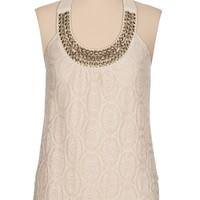 Metallic stud embellished lace tank