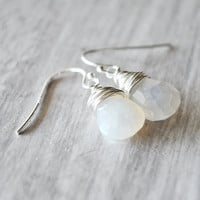 White Pearl Earrings Sterling Silver Wire Wrapped by starletta