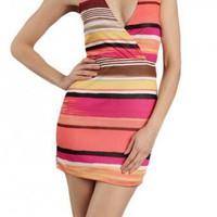 COLOR STRIP V-HALTER DRESS-Casual Dresses-casual dresses for juniors,casual dresses,comfort dress,casual elegant dress,designer dresses
