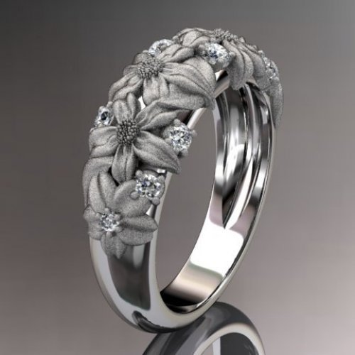 14kt white gold diamond floral wedding ring,engagement ring ADLR98...... | AnjaysDesigns - Jewelry on ArtFire