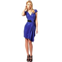 Bqueen Contrast Draped Dress Blue K143L - Designer Shoes|Bqueenshoes.com