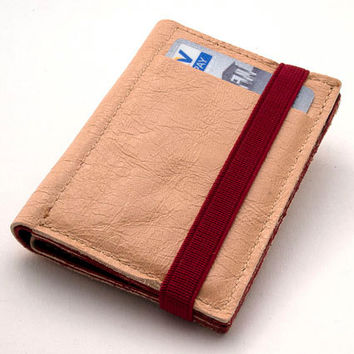 Designed Cream leather wallet, Enclosed by elastic band, one of a kind portemonnaie, made of up cycled leather
