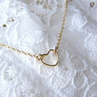 Tiny Gold Heart Ring Necklace - simple dainty everyday wear by Yameyu
