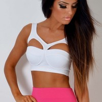 Bex White Cut Out Bodycon Bralet Top | Pink Boutique