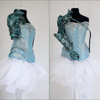 Natural leather light blue silver  armor