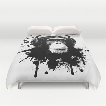 Monkey Business - White Duvet Cover by Nicklas Gustafsson